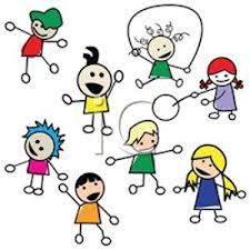 Barn som leker - tecknat